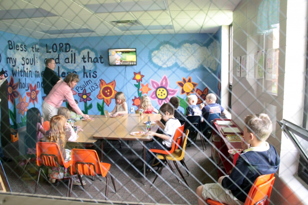 Snack time, video, and a lesson all occur in our colorful Children's Church room!